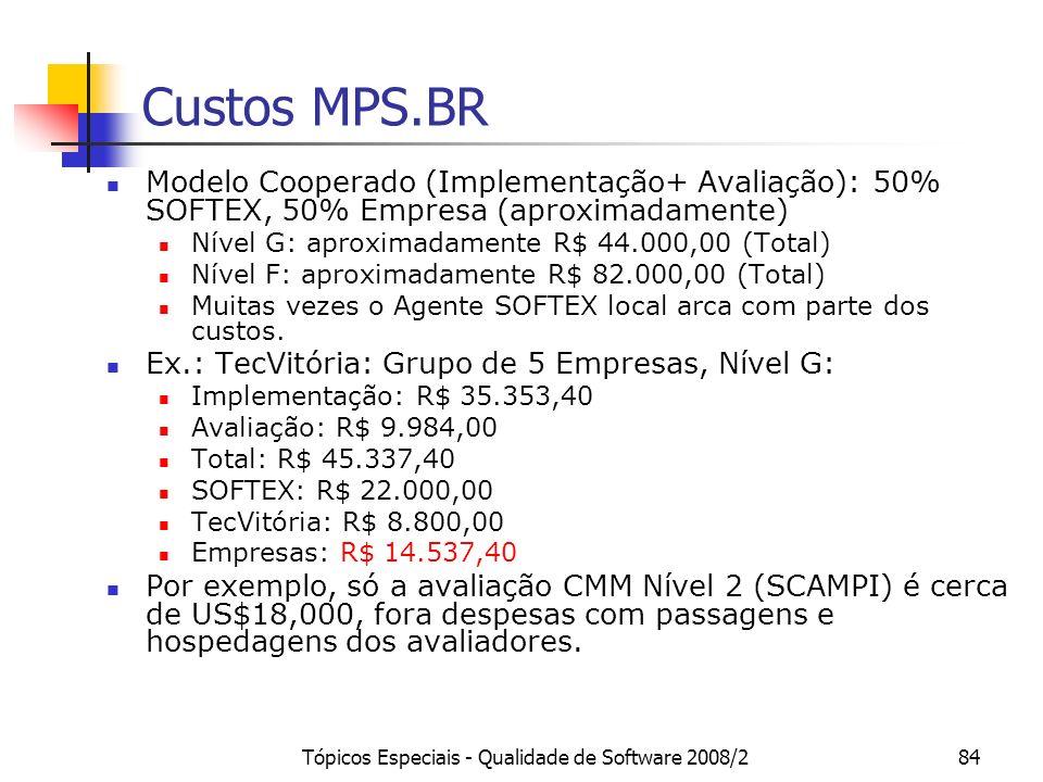 Tópicos Especiais - Qualidade de Software 2008/284 Custos MPS.BR Modelo Cooperado (Implementação+ Avaliação): 50% SOFTEX, 50% Empresa (aproximadamente