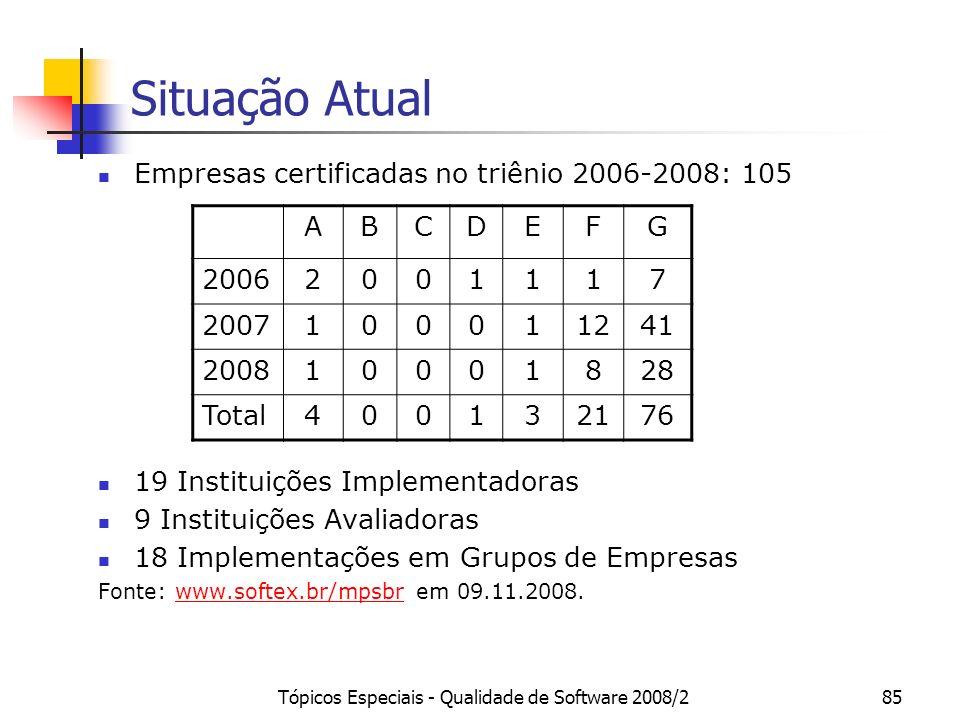 Tópicos Especiais - Qualidade de Software 2008/285 Situação Atual Empresas certificadas no triênio 2006-2008: 105 19 Instituições Implementadoras 9 In