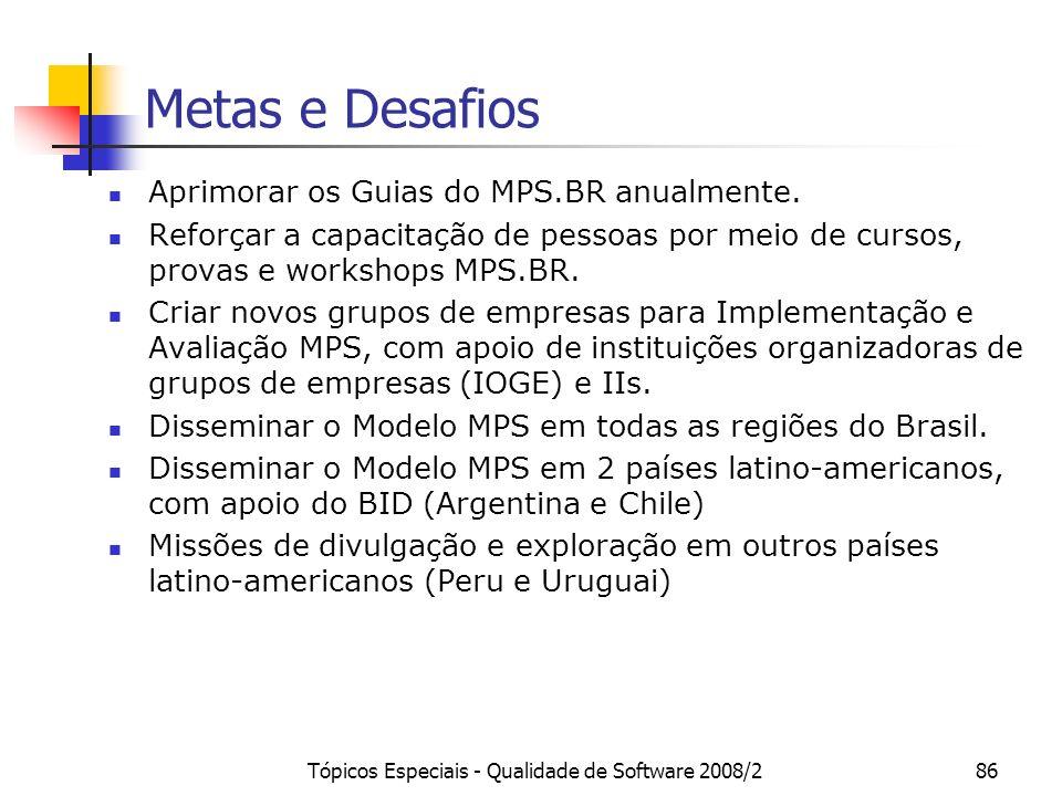 Tópicos Especiais - Qualidade de Software 2008/286 Metas e Desafios Aprimorar os Guias do MPS.BR anualmente. Reforçar a capacitação de pessoas por mei