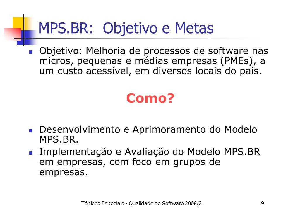 Tópicos Especiais - Qualidade de Software 2008/29 MPS.BR: Objetivo e Metas Objetivo: Melhoria de processos de software nas micros, pequenas e médias e