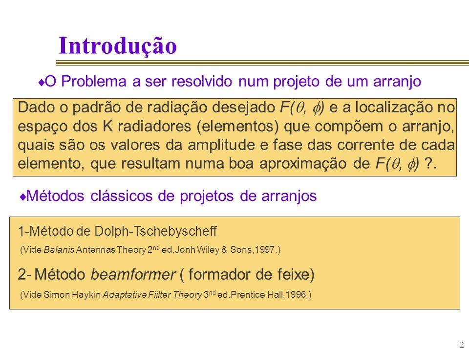 2 Introdução O Problema a ser resolvido num projeto de um arranjo Dado o padrão de radiação desejado F(, ) e a localização no espaço dos K radiadores