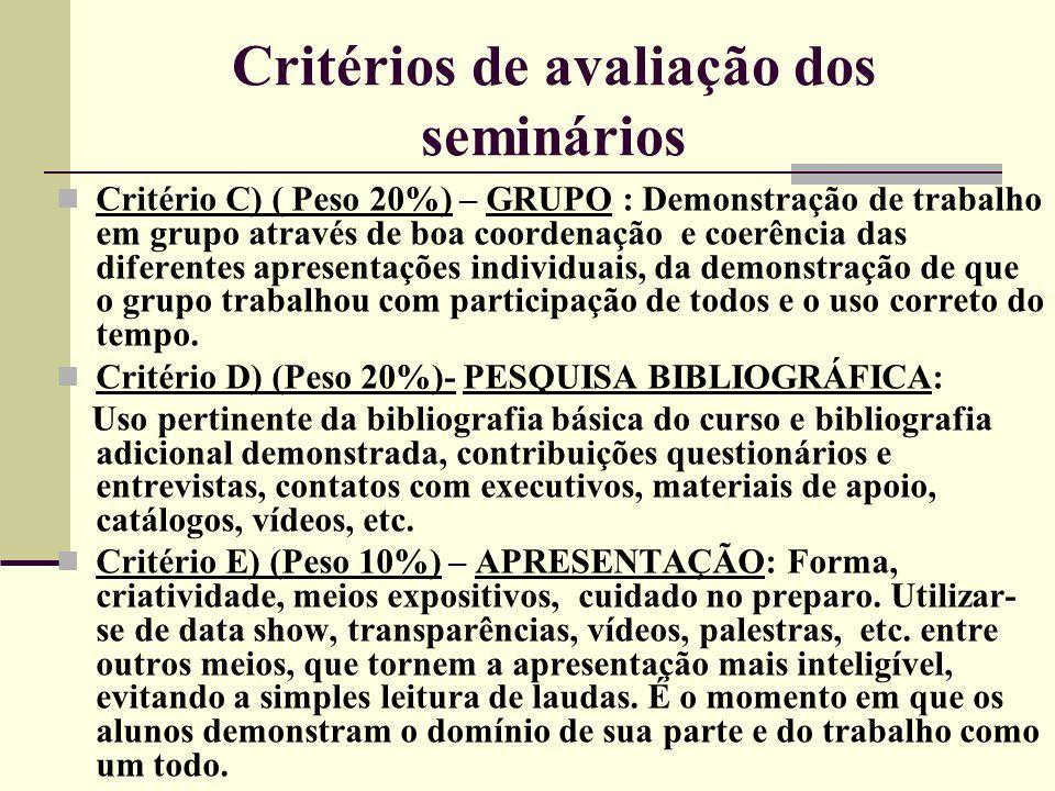 Critérios de avaliação dos seminários Critério C) ( Peso 20%) – GRUPO : Demonstração de trabalho em grupo através de boa coordenação e coerência das d