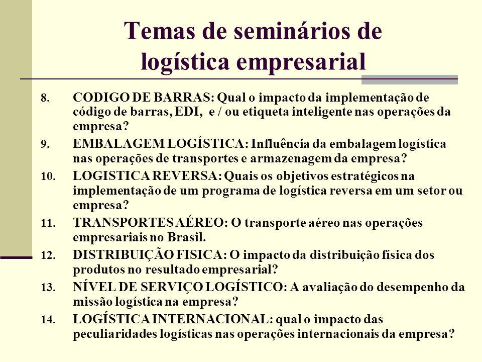 Temas de seminários de logística empresarial 8. CODIGO DE BARRAS: Qual o impacto da implementação de código de barras, EDI, e / ou etiqueta inteligent
