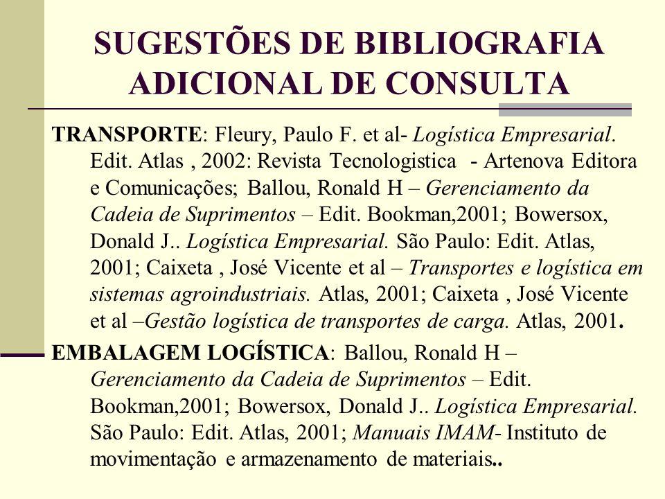 SUGESTÕES DE BIBLIOGRAFIA ADICIONAL DE CONSULTA TRANSPORTE: Fleury, Paulo F. et al- Logística Empresarial. Edit. Atlas, 2002: Revista Tecnologistica -
