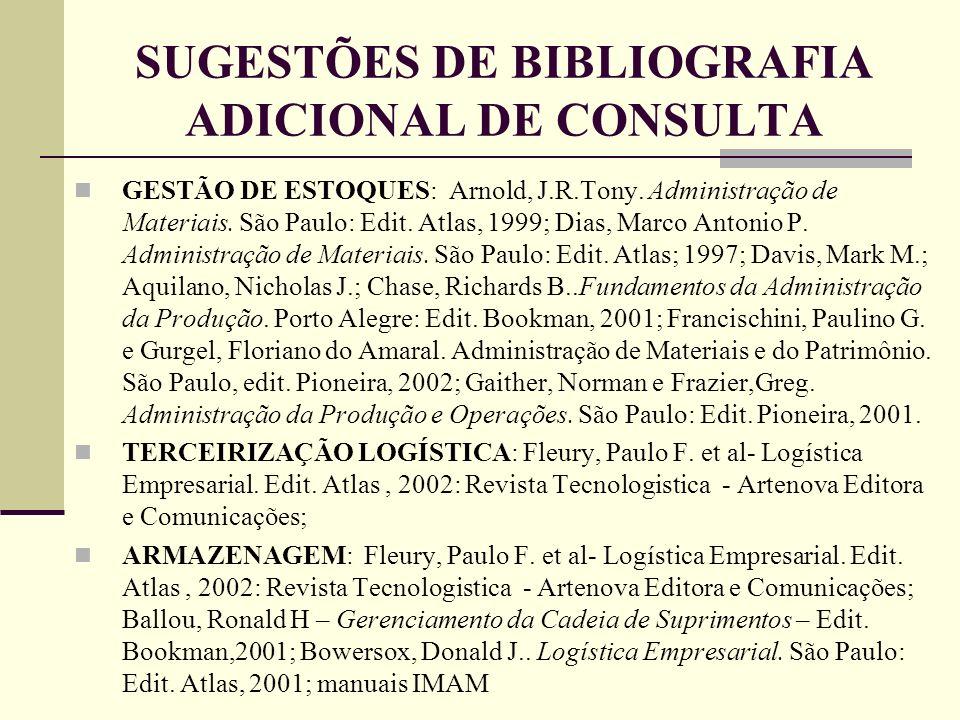 SUGESTÕES DE BIBLIOGRAFIA ADICIONAL DE CONSULTA GESTÃO DE ESTOQUES: Arnold, J.R.Tony. Administração de Materiais. São Paulo: Edit. Atlas, 1999; Dias,