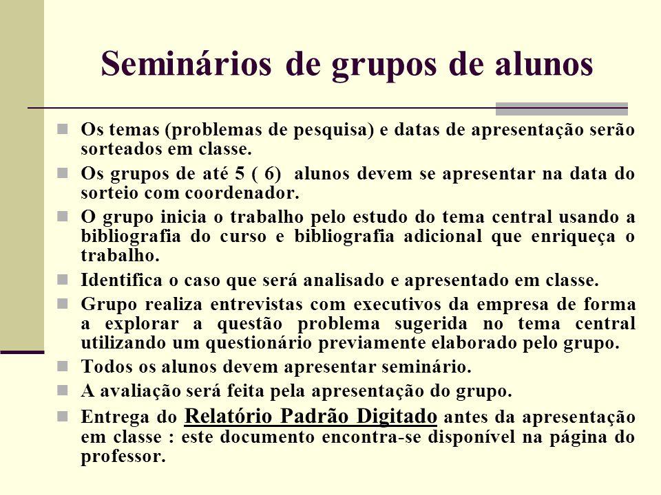 Seminários de grupos de alunos Os temas (problemas de pesquisa) e datas de apresentação serão sorteados em classe. Os grupos de até 5 ( 6) alunos deve
