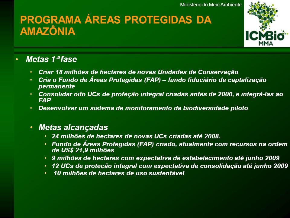 Ministério do Meio Ambiente Metas 2 ª fase Ampliar a área protegida do Programa de 50 milhões de hectares para 60 milhões de hectares Criar mais 20 milhões de hectares de Ucs 10 milhões de hectares de proteção integral PROGRAMA ÁREAS PROTEGIDAS DA AMAZÔNIA Universo de Apoio 5 categorias de Unidades de Conservação Parque, reserva biológica, estação ecológica, reserva extrativista e reserva de desenvolvimento sustentável UCs Federais e Estaduais Abrangência em 7 estados da Amazônia (PA, AM, MT, TO, RO, RR, AC, AP) 63 Unidades Apoiadas 33 UCs de proteção integral 30 Ucs de usos sustentável