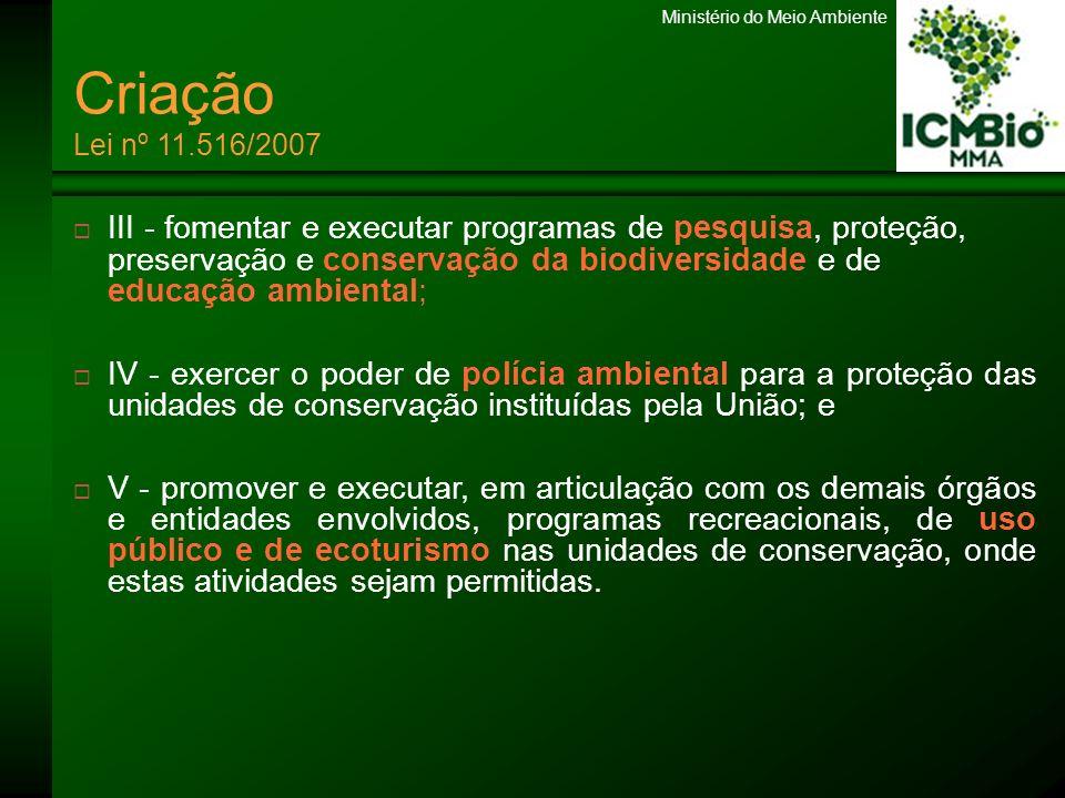 Ministério do Meio Ambiente SNUC Lei nº 9.985/00 MULTI-FUNCIONAL MULTI-ESPACIAL PARTICIPATIVO Permite diferentes níveis de intervenção nos ecossistemas Protege a biodiversidade em diferentes regiões do território nacional Possibilita a gestão das UC em conjunto com a sociedade