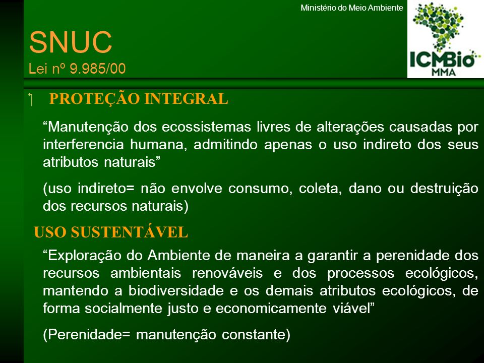 Ministério do Meio Ambiente PROTEÇÃO INTEGRAL USO SUSTENTÁVEL Manutenção dos ecossistemas livres de alterações causadas por interferencia humana, admi