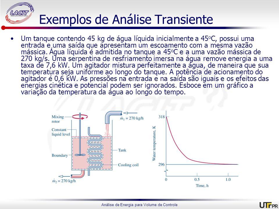 Análise de Energia para Volume de Controle Exemplos de Análise Transiente Um tanque contendo 45 kg de água líquida inicialmente a 45 o C, possui uma e
