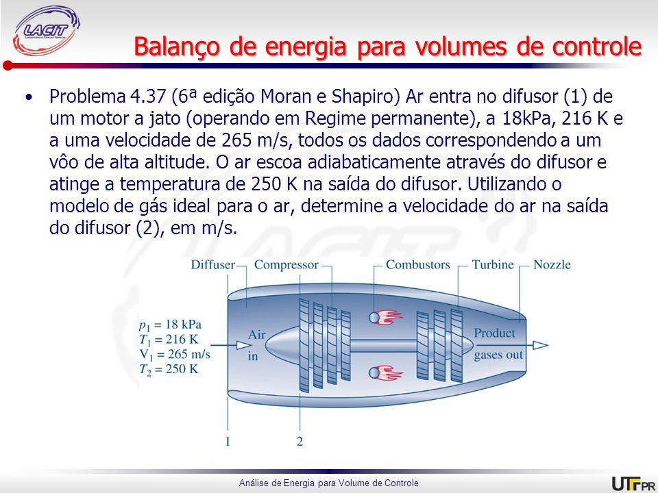 Análise de Energia para Volume de Controle Balanço de energia para volumes de controle Problema 4.37 (6ª edição Moran e Shapiro) Ar entra no difusor (
