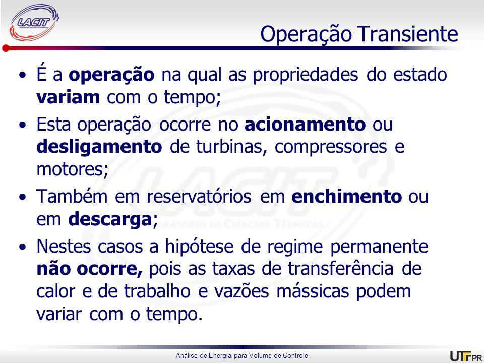 Análise de Energia para Volume de Controle Operação Transiente É a operação na qual as propriedades do estado variam com o tempo; Esta operação ocorre