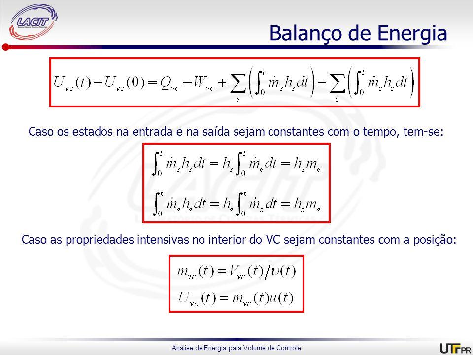 Análise de Energia para Volume de Controle Balanço de Energia Caso os estados na entrada e na saída sejam constantes com o tempo, tem-se: Caso as prop