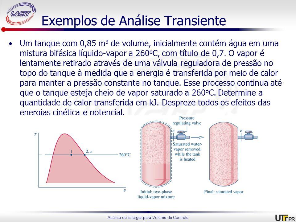 Análise de Energia para Volume de Controle Exemplos de Análise Transiente Um tanque com 0,85 m 3 de volume, inicialmente contém água em uma mistura bi