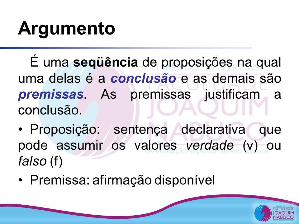 Argumento É uma seqüência de proposições na qual uma delas é a conclusão e as demais são premissas. As premissas justificam a conclusão. Proposição: s