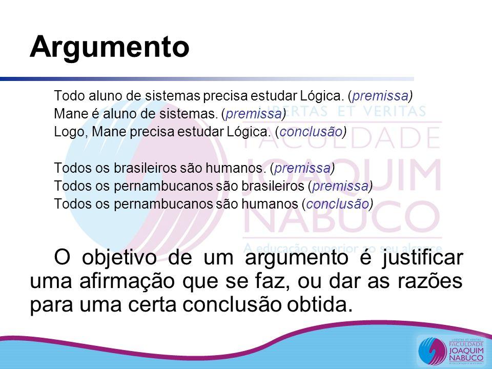 Argumento Todo aluno de sistemas precisa estudar Lógica. (premissa) Mane é aluno de sistemas. (premissa) Logo, Mane precisa estudar Lógica. (conclusão