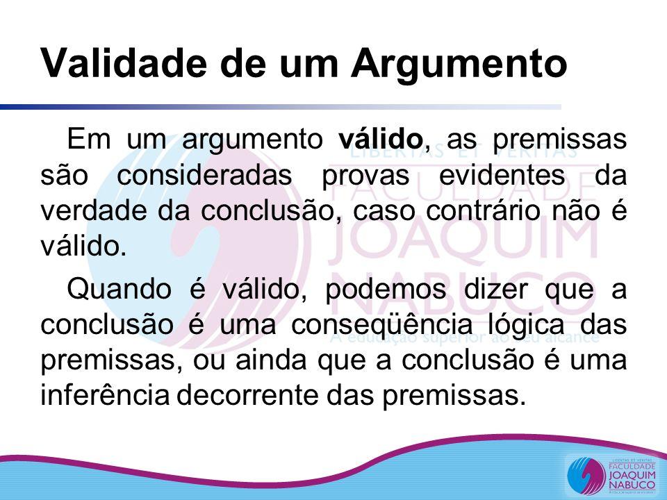 Validade de um Argumento A validade de um argumento depende da forma (estrutura) lógica das suas proposições (premissas e conclusões) e não do conteúdo delas Uma proposição é verdadeira ou falsa Um argumento é válido ou não válido