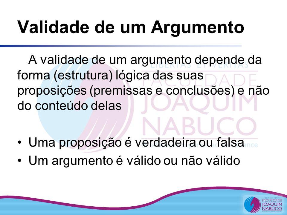 Validade de um Argumento A validade de um argumento depende da forma (estrutura) lógica das suas proposições (premissas e conclusões) e não do conteúd