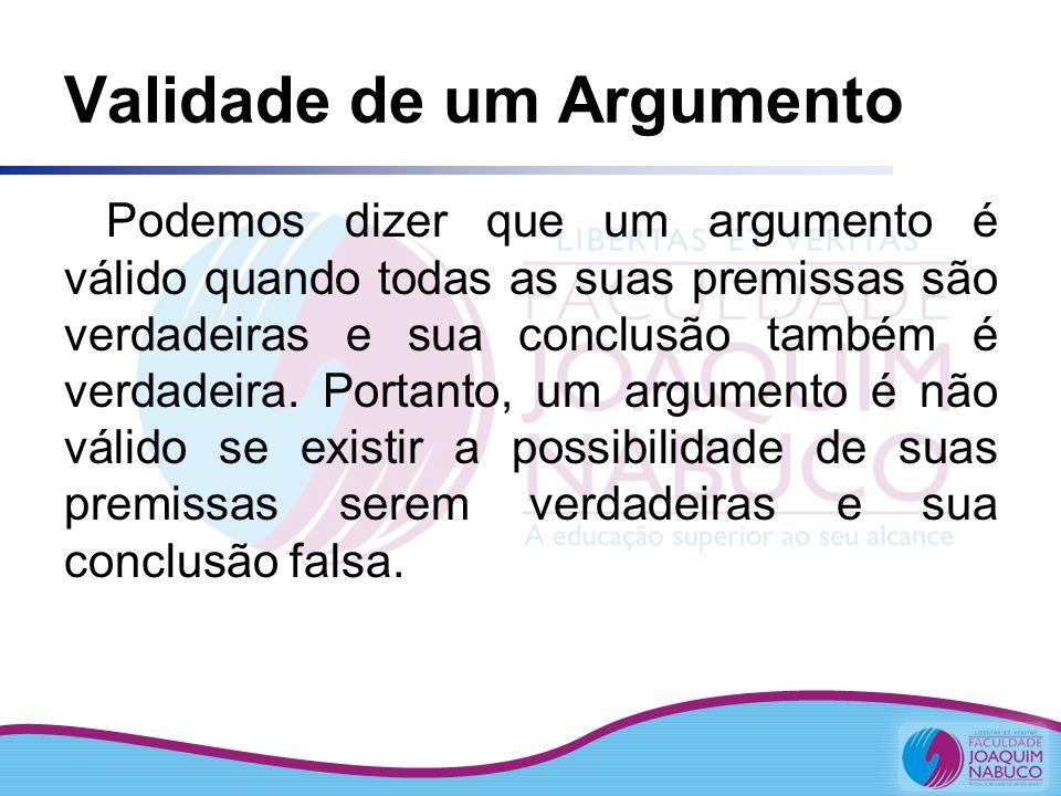 Validade de um Argumento Podemos dizer que um argumento é válido quando todas as suas premissas são verdadeiras e sua conclusão também é verdadeira. P