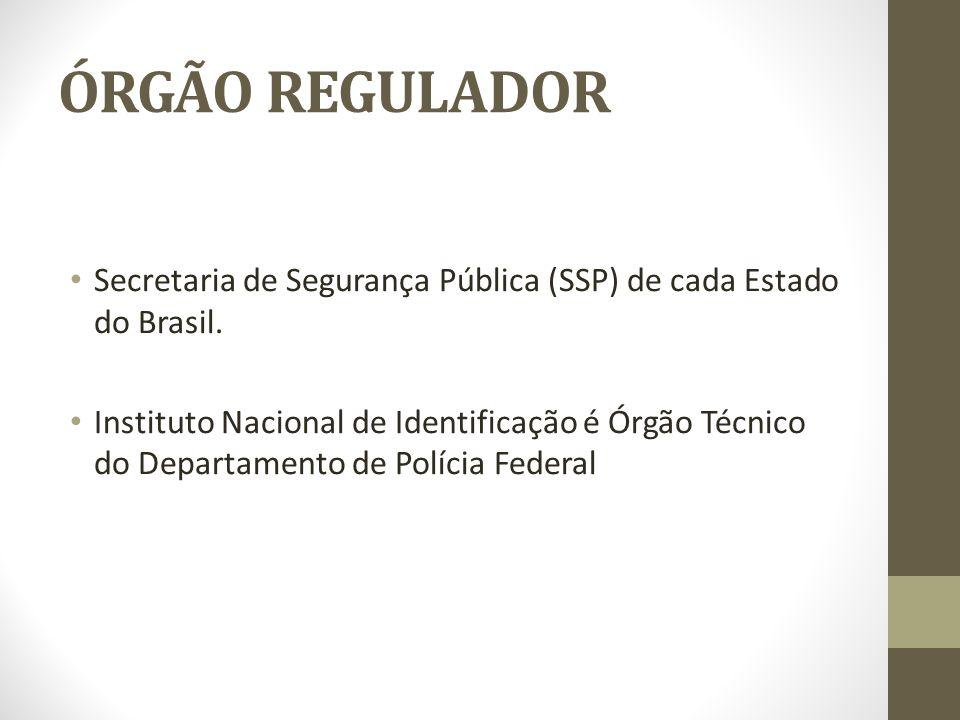 ÓRGÃO REGULADOR Secretaria de Segurança Pública (SSP) de cada Estado do Brasil. Instituto Nacional de Identificação é Órgão Técnico do Departamento de