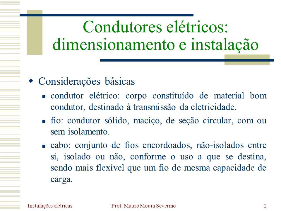 Instalações elétricas Prof. Mauro Moura Severino2 Considerações básicas condutor elétrico: corpo constituído de material bom condutor, destinado à tra