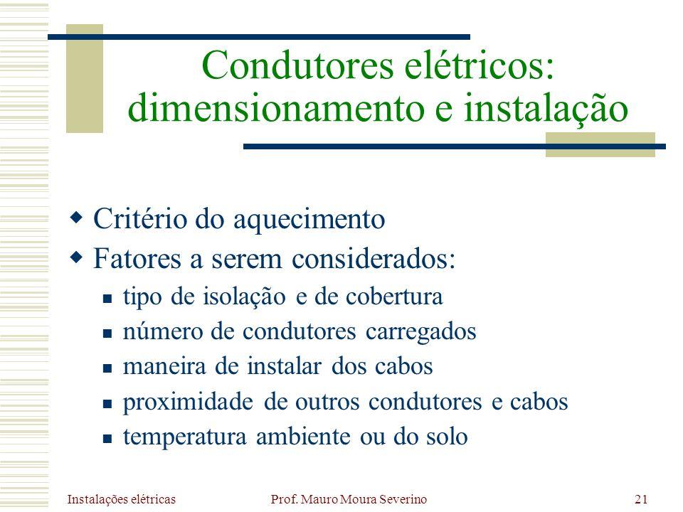 Instalações elétricas Prof. Mauro Moura Severino21 Critério do aquecimento Fatores a serem considerados: tipo de isolação e de cobertura número de con