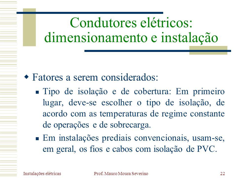 Instalações elétricas Prof. Mauro Moura Severino22 Fatores a serem considerados: Tipo de isolação e de cobertura: Em primeiro lugar, deve-se escolher