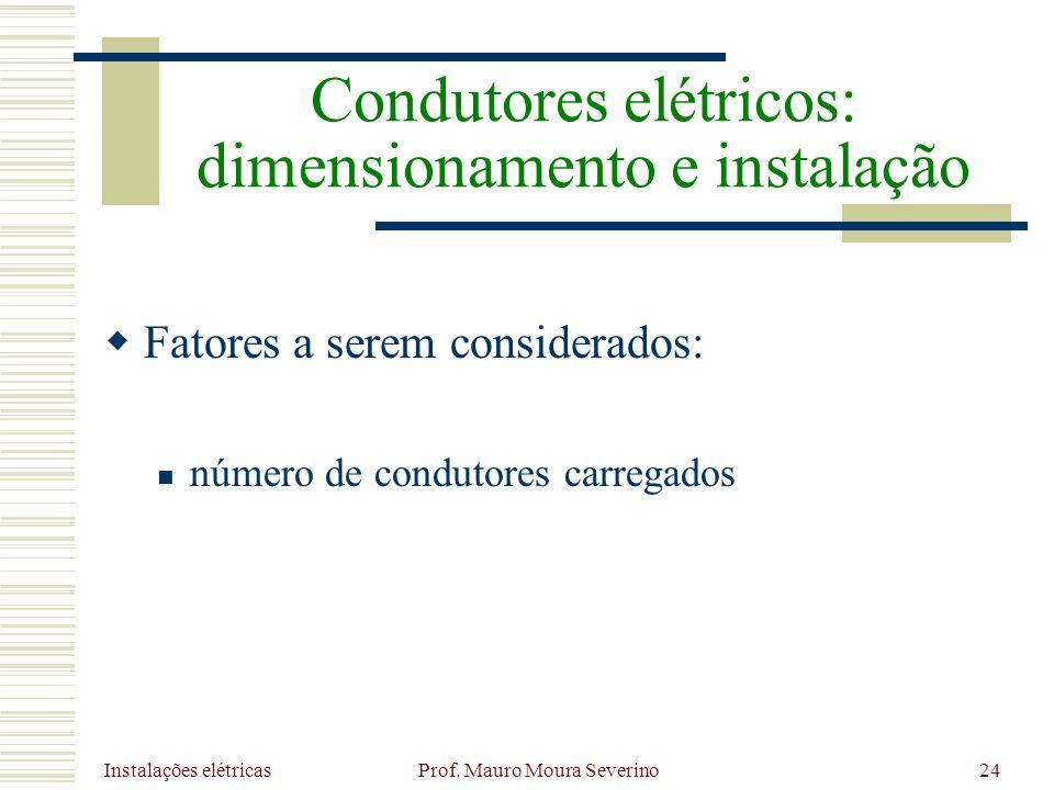 Instalações elétricas Prof. Mauro Moura Severino24 Fatores a serem considerados: número de condutores carregados Condutores elétricos: dimensionamento