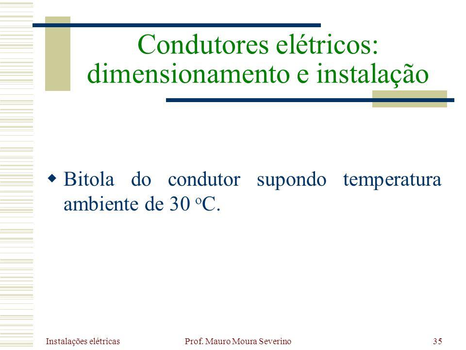 Instalações elétricas Prof. Mauro Moura Severino35 Bitola do condutor supondo temperatura ambiente de 30 o C. Condutores elétricos: dimensionamento e