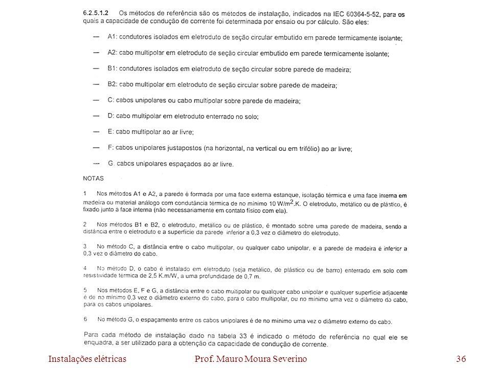 Instalações elétricas Prof. Mauro Moura Severino36