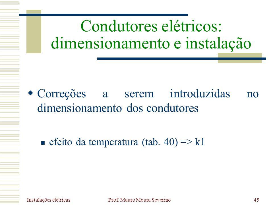 Instalações elétricas Prof. Mauro Moura Severino45 Correções a serem introduzidas no dimensionamento dos condutores efeito da temperatura (tab. 40) =>