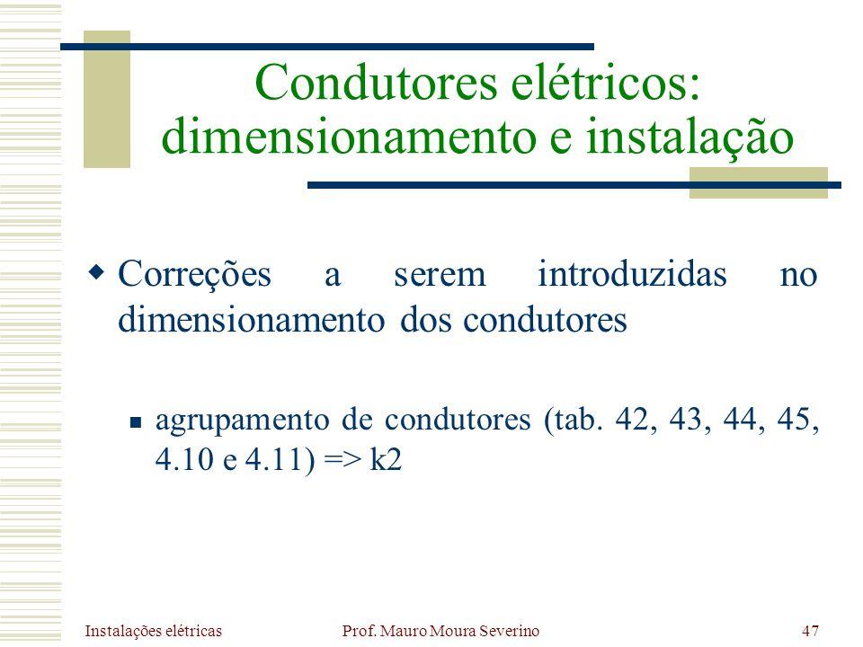 Instalações elétricas Prof. Mauro Moura Severino47 Correções a serem introduzidas no dimensionamento dos condutores agrupamento de condutores (tab. 42