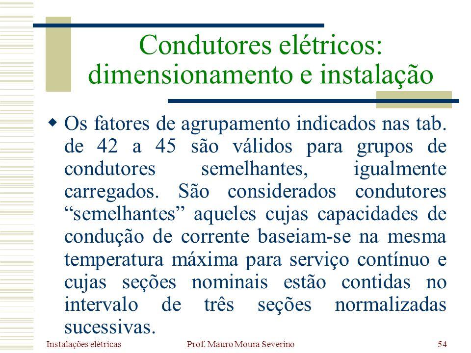 Instalações elétricas Prof. Mauro Moura Severino54 Os fatores de agrupamento indicados nas tab. de 42 a 45 são válidos para grupos de condutores semel