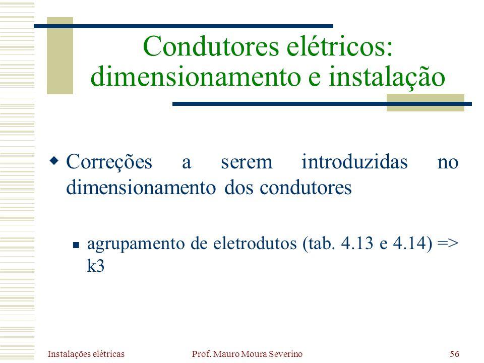 Instalações elétricas Prof. Mauro Moura Severino56 Correções a serem introduzidas no dimensionamento dos condutores agrupamento de eletrodutos (tab. 4