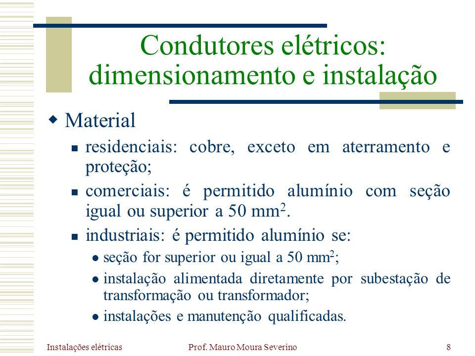 Instalações elétricas Prof. Mauro Moura Severino8 Material residenciais: cobre, exceto em aterramento e proteção; comerciais: é permitido alumínio com