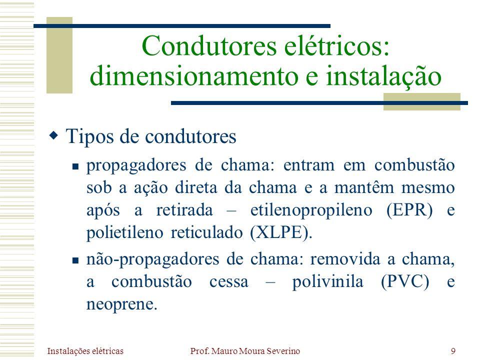 Instalações elétricas Prof. Mauro Moura Severino9 Tipos de condutores propagadores de chama: entram em combustão sob a ação direta da chama e a mantêm