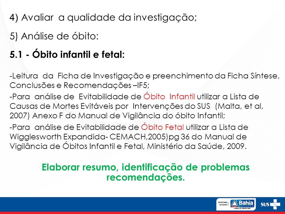 5.2 - Óbito materno: Lista de Causa de mortes evitáveis por intervenções do Sistema Único de Saúde do Brasil(2007).