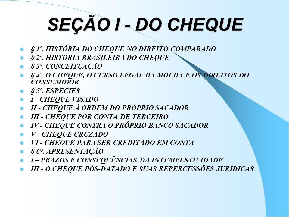 SEÇÃO I - DO CHEQUE § 1º. HISTÓRIA DO CHEQUE NO DIREITO COMPARADO § 2º. HISTÓRIA BRASILEIRA DO CHEQUE § 3º. CONCEITUAÇÃO § 4º. O CHEQUE, O CURSO LEGAL