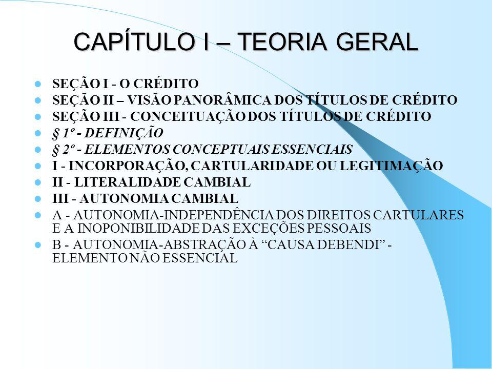 CAPÍTULO I – TEORIA GERAL SEÇÃO I - O CRÉDITO SEÇÃO II – VISÃO PANORÂMICA DOS TÍTULOS DE CRÉDITO SEÇÃO III - CONCEITUAÇÃO DOS TÍTULOS DE CRÉDITO § 1º