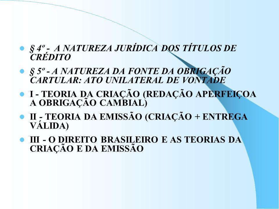 § 4º - A NATUREZA JURÍDICA DOS TÍTULOS DE CRÉDITO § 5º - A NATUREZA DA FONTE DA OBRIGAÇÃO CARTULAR: ATO UNILATERAL DE VONTADE I - TEORIA DA CRIAÇÃO (R