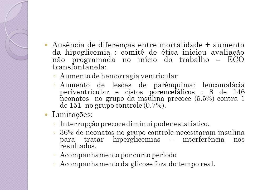 Ausência de diferenças entre mortalidade + aumento da hipoglicemia : comitê de ética iniciou avaliação não programada no início do trabalho – ECO tran