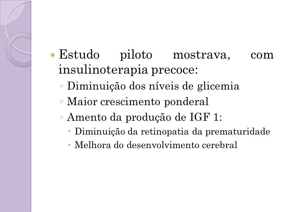 Estudo piloto mostrava, com insulinoterapia precoce: Diminuição dos níveis de glicemia Maior crescimento ponderal Amento da produção de IGF 1: Diminui