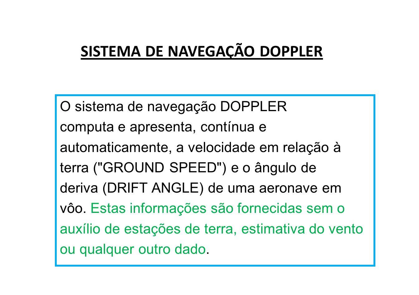 O sistema DOPPLER da aeronave emite feixes concentrados de energia eletromagnética numa determinada frequência.