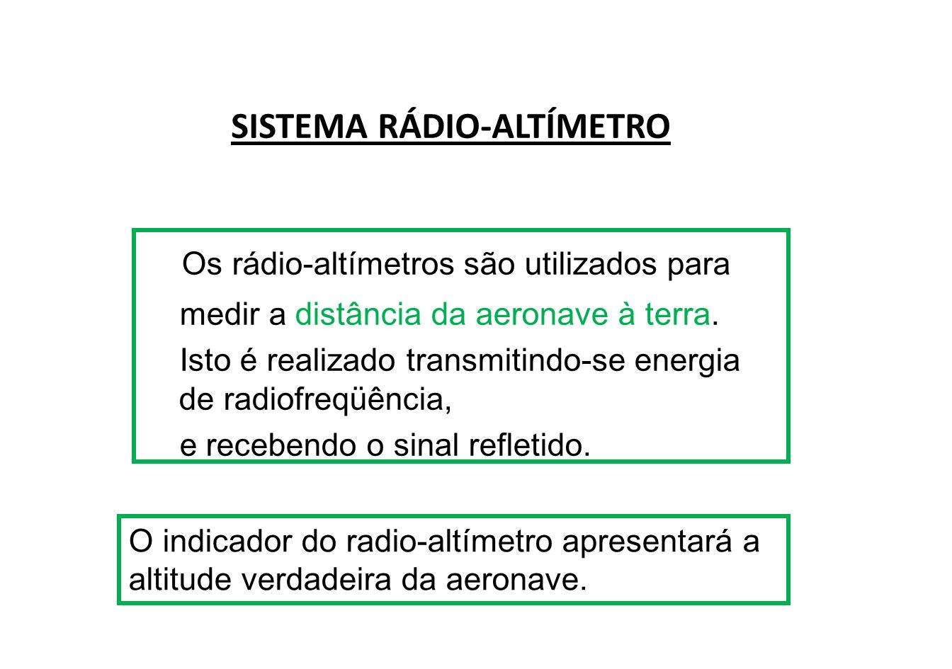 Os rádio altímetros modernos são em sua maioria do tipo de emissão de pulso, sendo a altitude calculada pela medição do tempo necessário para o pulso transmitido atingir a terra e retornar à aeronave.
