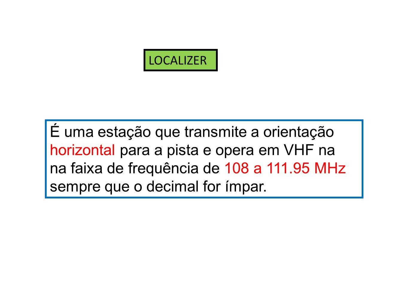As estações de LOCALIZER operam na freqüência de 108,0 MHz a 112,0 MHz, porém, só incluindo as decimais ímpares.