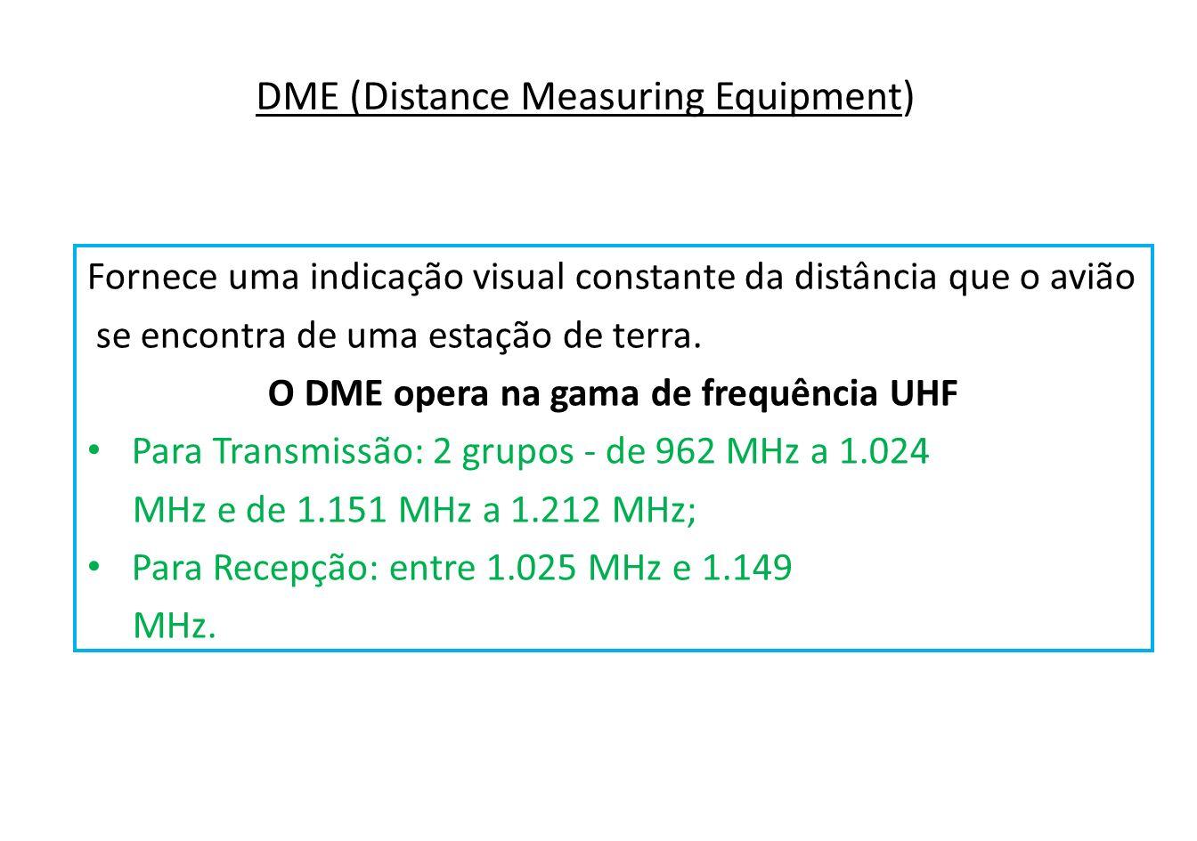 A operação do sistema DME é baseada na transmissão de pares de pulsos em intervalos específicos emitidos pela aeronave, que são recebidos e retransmitidos por uma estação de terra.