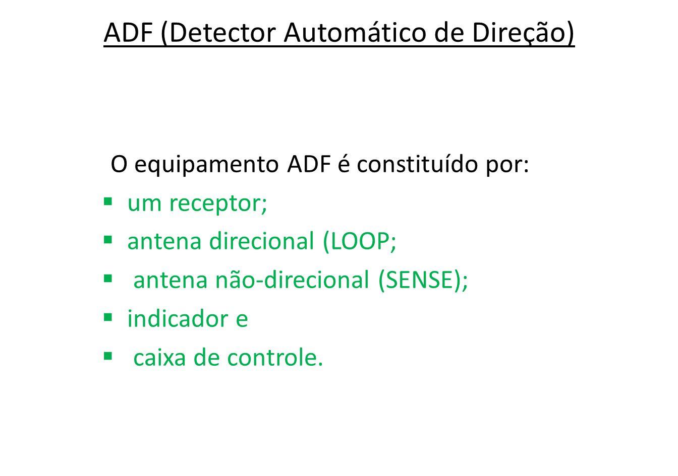O sistema ADF é projetado para fornecer informações de proa relativa.
