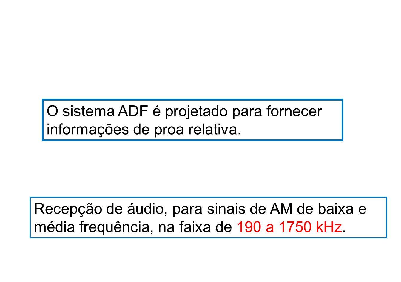 Os ADFs são usados nas seguintes funções: Como radiogoniômetro automático, para fornecer indicações contínuas de marcações magnéticas das estações Sintonizadas.