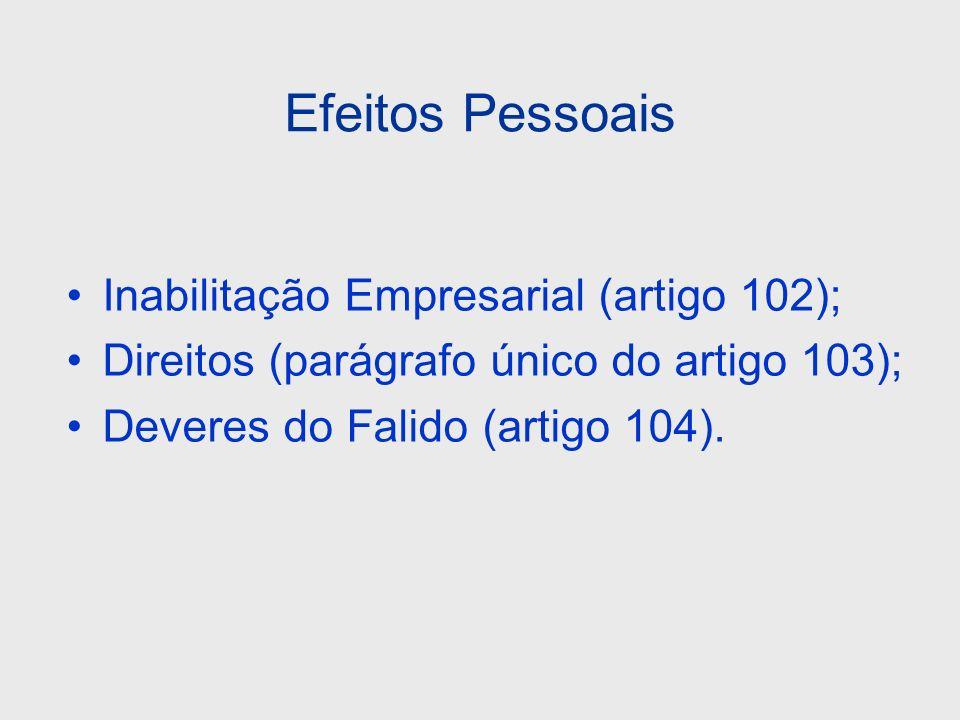 Efeitos Pessoais Inabilitação Empresarial (artigo 102); Direitos (parágrafo único do artigo 103); Deveres do Falido (artigo 104).