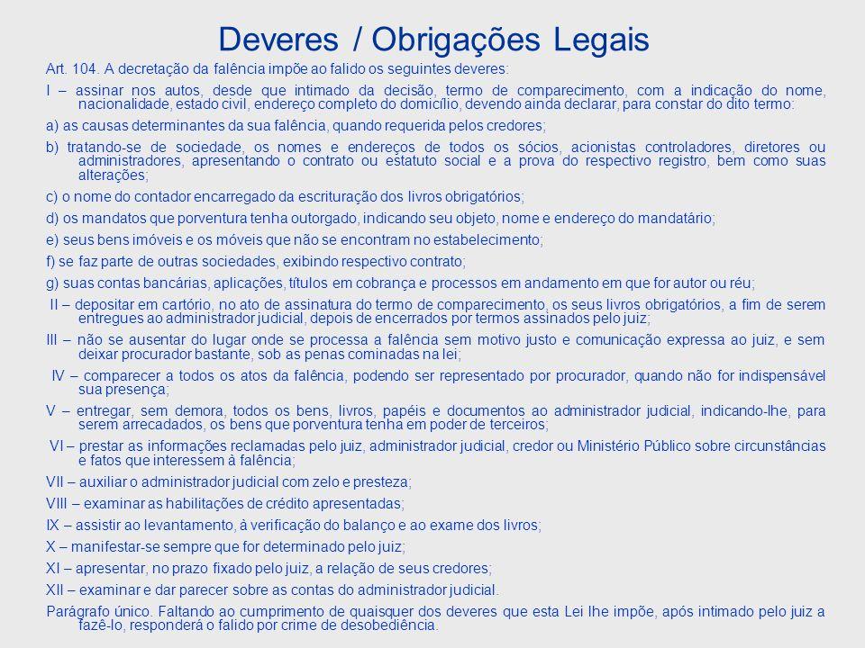 Decreto Lei nº.7.661/1945 Art. 34.